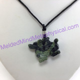 MeldedMind Serpentine Jade Dragon Necklace 1.24 Inches 31mm Pendant Abundance 604