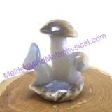 "4"" Blue Chalcedony Mushroom 3 Stalk Toadstool Blue Crystal Display Specimen"