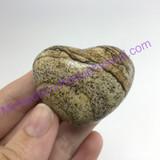 MeldedMind Natural Picture Jasper Puffed Heart 1.73in 44mm Brown Tan Stone 380
