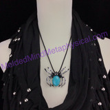 MeldedMind Turquoise Adjustable Necklace/Pin 9in Halloween Decor Fashion 215