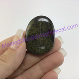 MeldedMind Dragons Blood Jasper Palm Smooth Worry Stone 1.56in 39mm Green Red 096