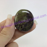 MeldedMind Dragons Blood Jasper Palm Smooth Worry Stone 1.51in 38mm Green Red 097