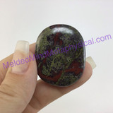 MeldedMind Dragons Blood Jasper Palm Smooth Worry Stone 1.61in 40mm Green Red 100