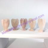 MeldedMind One (1) Rose Quartz Crystal Carved Angel 2.02in 51mm Heart Love 605