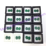 MeldedMind One (1) Pair Green Glass Cabochons Jewerly Artist Supply