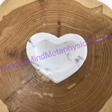 MeldedMind Howlite Heart Bowl 2.70in 68mm White Buffalo Stone of Awareness 232
