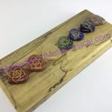 MeldedMind One (1) 7 Engraved Chakra Symbols Set on Heart Stones Holistic Palm 649