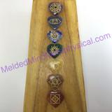 MeldedMind One (1) 7 Engraved Chakra Symbols Set on Heart Stones Holistic Palm 648