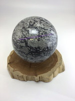 Melded Mind Map Stone Picasso Jasper 6 inch Sphere MMM2007-212 Black White Grey Home Decor