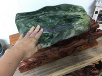 MeldedMind XL Nephrite Jade with wooden base, free form, hand polished, decor