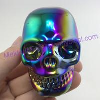 MeldedMind146 Titanium Aura Coated Quartz Carved Skull 3.06in 77mm 8.92oz Display Decor Rainbow Energy