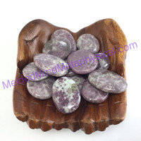 MeldedMind One (1) Lepidolite Palm Stone ~1.29in - ~1.58in Purple Worry Pocket 0