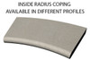 Example of limestone inside radius/curved swimming pool or spa coping with bull nose edge. Available in limestone, bluestone, sandstone, granite, marble, travertine, made in USA, shipped nationwide.