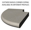 Example of limestone outside radius corner swimming pool or spa coping with bull nose edge. Available in limestone, bluestone, sandstone, granite, marble, travertine, made in USA, shipped nationwide.