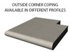 Example of limestone outside corner swimming pool or spa coping with bull nose edge. Available in limestone, bluestone, sandstone, granite, marble, travertine, made in USA, shipped nationwide.