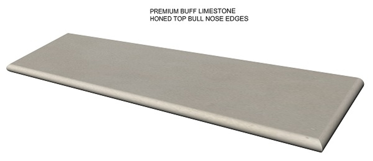 Premium buff limestone fireplace hearth; bull nose edges;  made to your size and shape, shipped nationwide, solid one piece