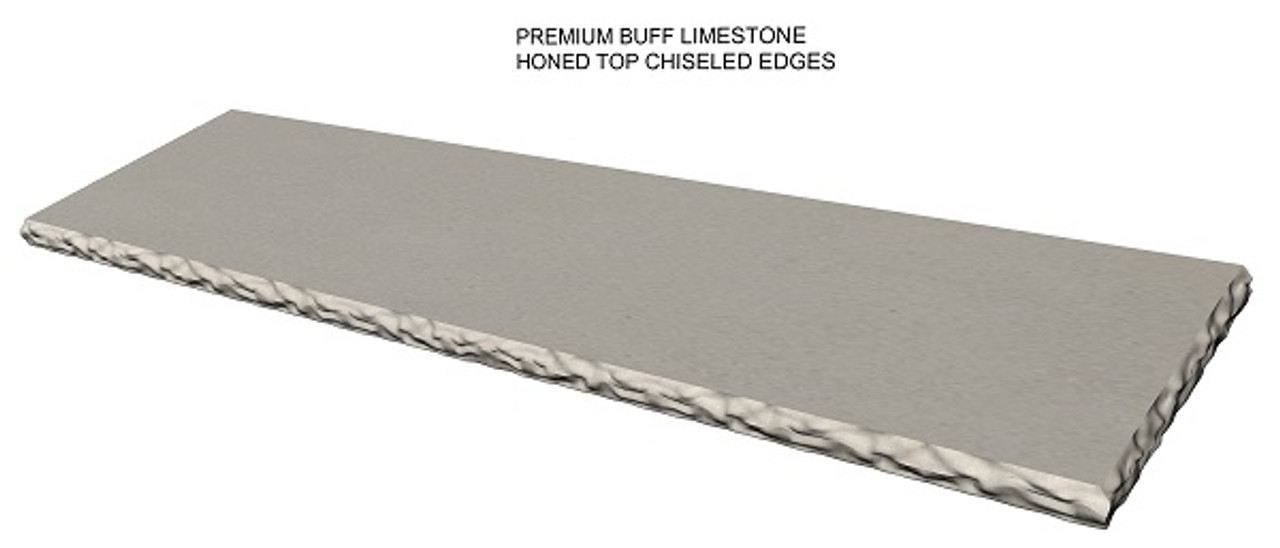 Premium buff limestone fireplace hearth; chiseled edges;  made to your size and shape, shipped nationwide, solid one piece