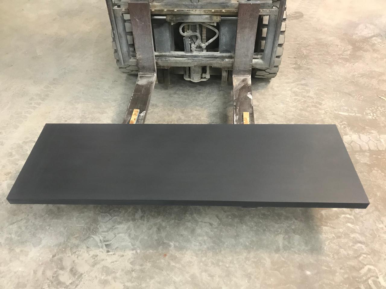 Honed black slate fireplace hearth