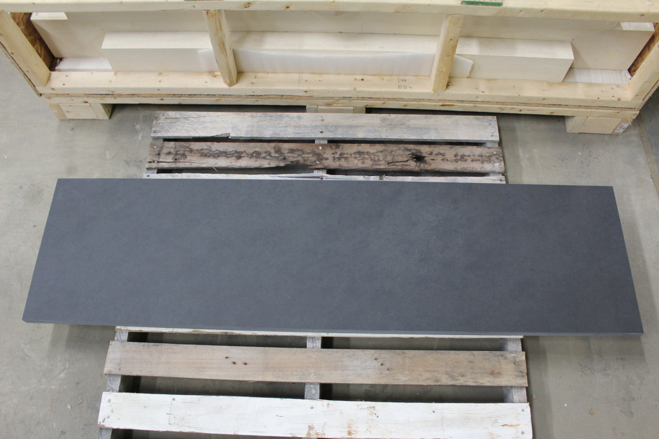 Natural cleft black slate fireplace rectangle hearth.