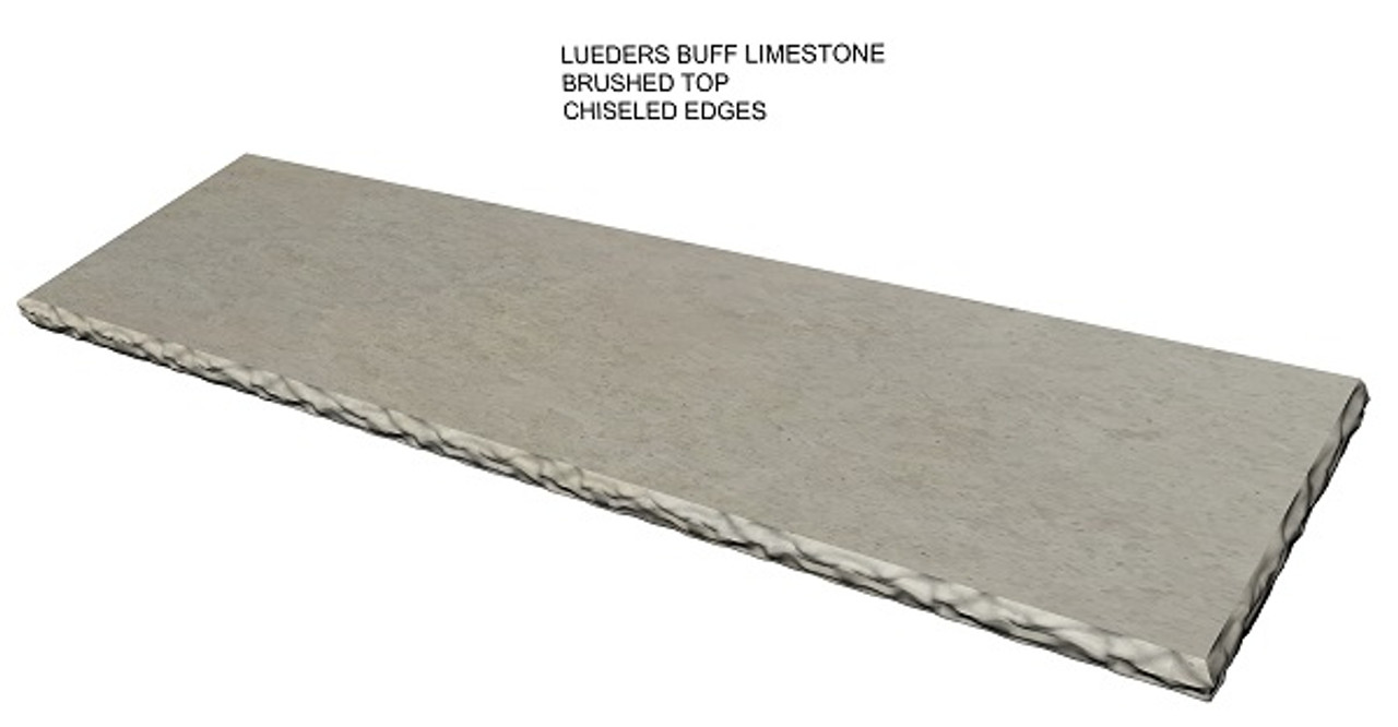 Lueders buff brushed limestone fireplace hearth, chiseled edges, solid, one piece, shipped nationwide