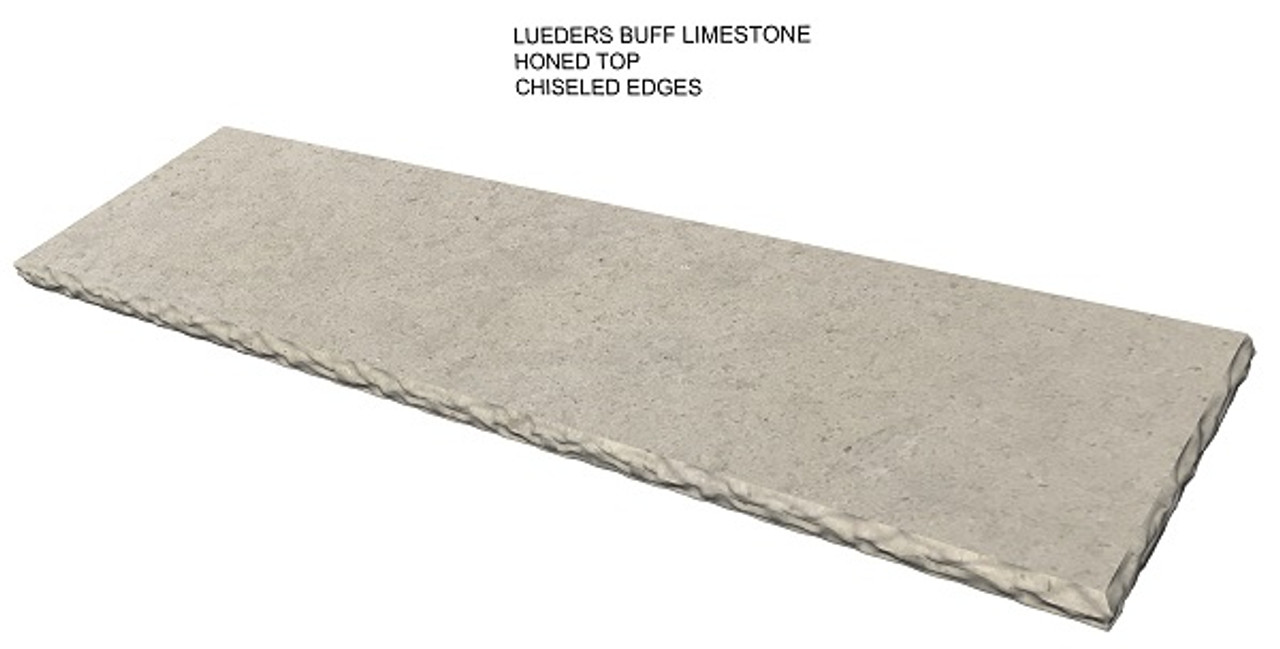Lueders buff honed limestone fireplace hearth, chiseled edges, solid, one piece, shipped nationwide