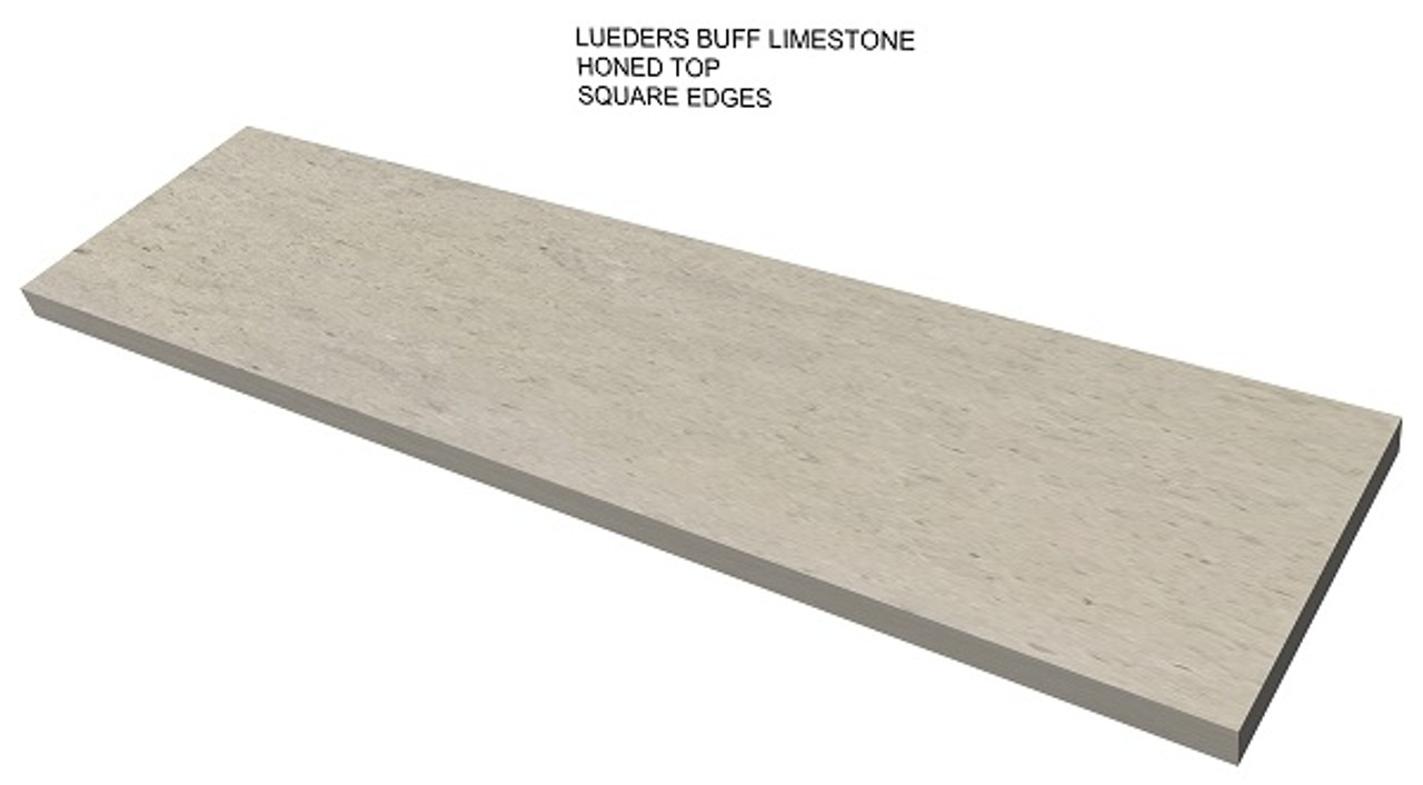 Lueders buff honed limestone fireplace hearth, square edges, solid, one piece, shipped nationwide