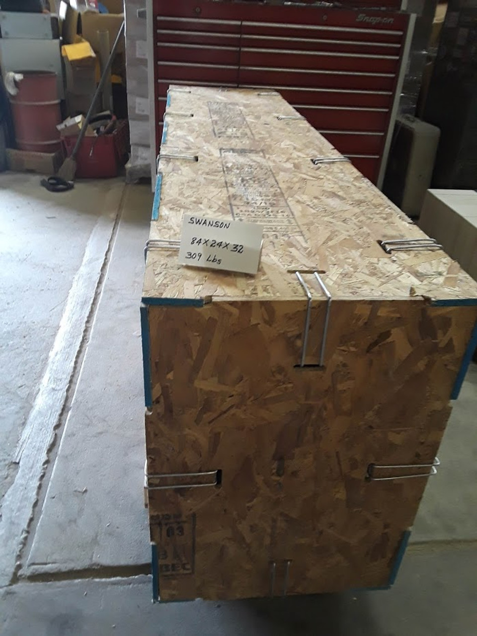 Typical custom fireplace hearth shipping crate, nationwide delivery with lift gate