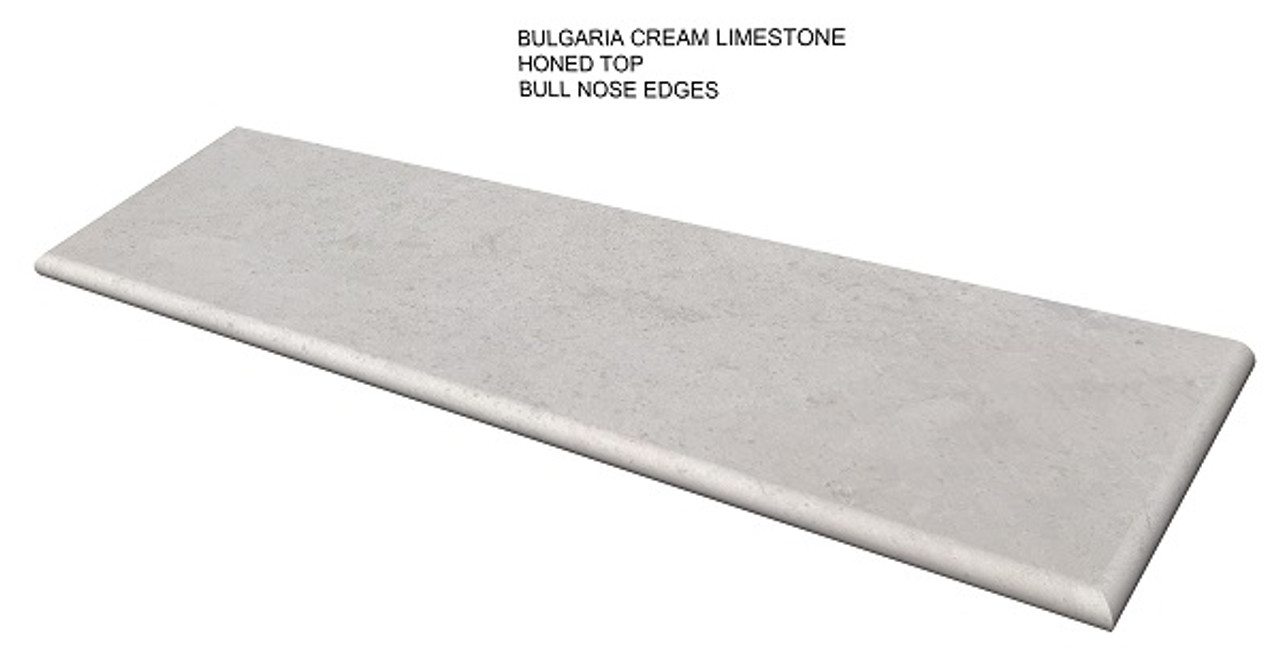 Bulgaria cream honed limestone fireplace hearth pad with bull nose edges- one piece slab, shipped nationwide, natural stone