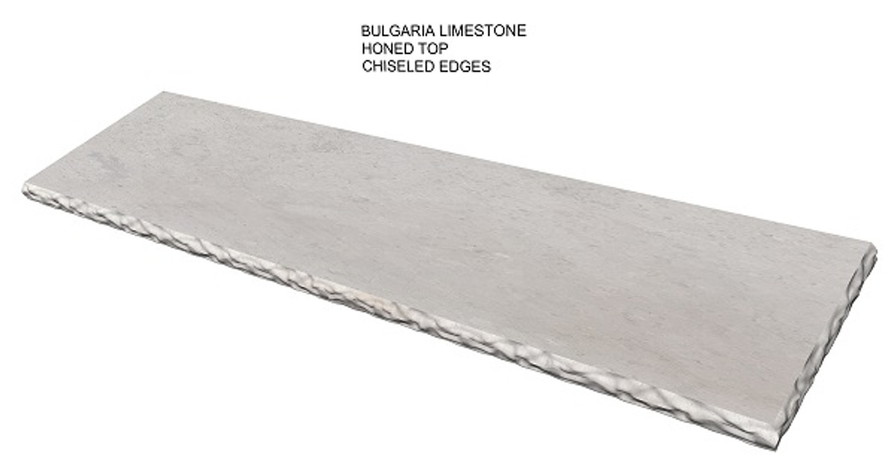 Bulgaria cream honed limestone fireplace hearth pad with chiseled edges- one piece slab, shipped nationwide, natural stone