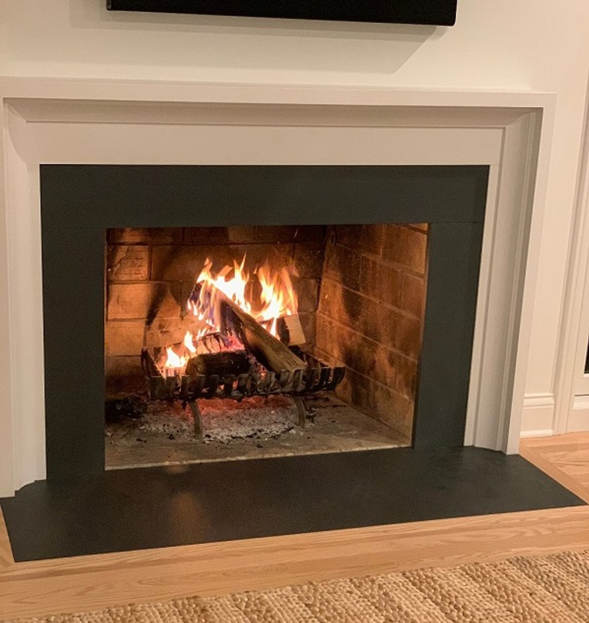 Black slate fireplace hearth and facing surround available in any size, slate, limestone, marble, bluestone, sandstone, travertine, granite and marble.