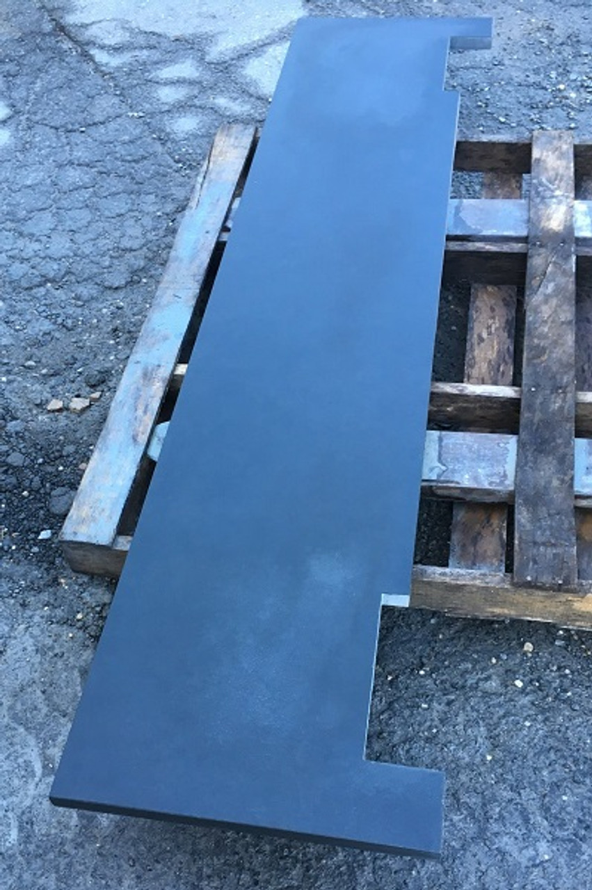 Custom black slate fireplace hearth slab; notched for fireplace opening to match template; natural stone; made in the USA; hearth pad; one piece