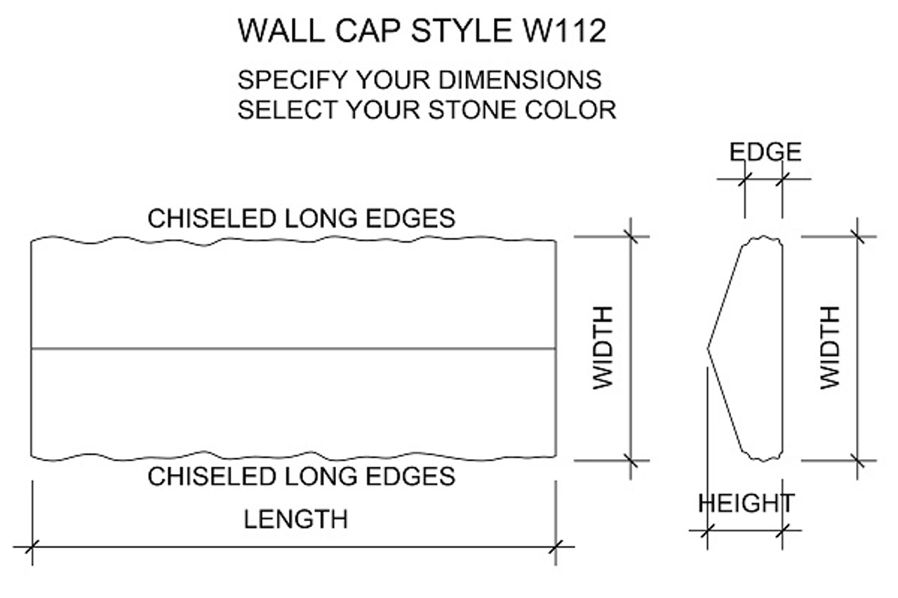 Example drawing of peaked wall cap drawing with chiseled edges. Available in limestone, bluestone, sandstone, granite, marble, travertine, made in USA, shipped nationwide.