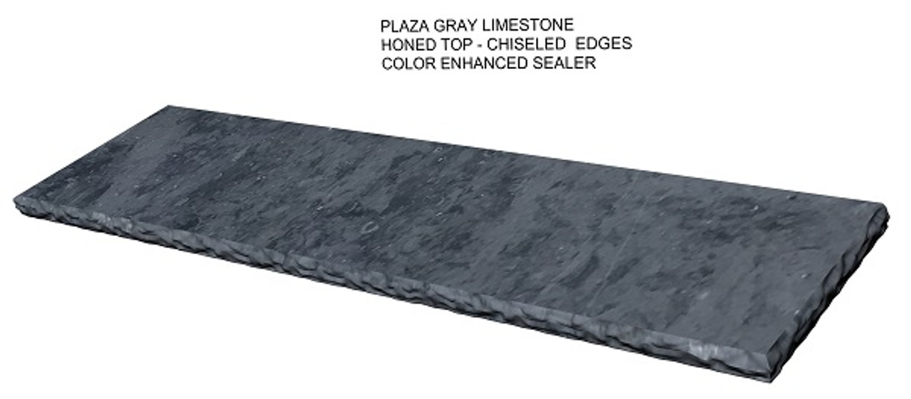 Plaza Gray limestone fireplace hearth; color enhanced to make the stone darker; honed smooth top with chiseled edges. Perspective view