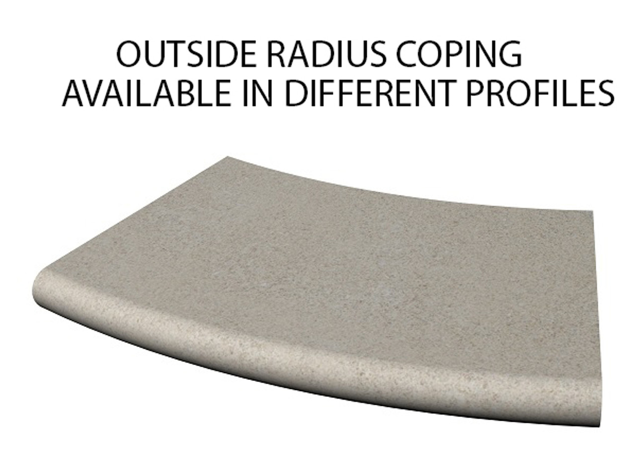 Example of limestone outside radius/curved swimming pool or spa coping with bull nose edge. Available in limestone, bluestone, sandstone, granite, marble, travertine, made in USA, shipped nationwide.