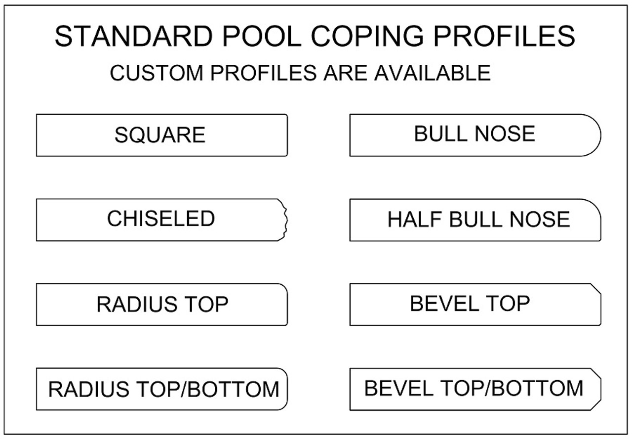 Standard swimming pool, spa or wall coping profiles. Available in limestone, bluestone, sandstone, granite, marble, travertine, made in USA, shipped nationwide.
