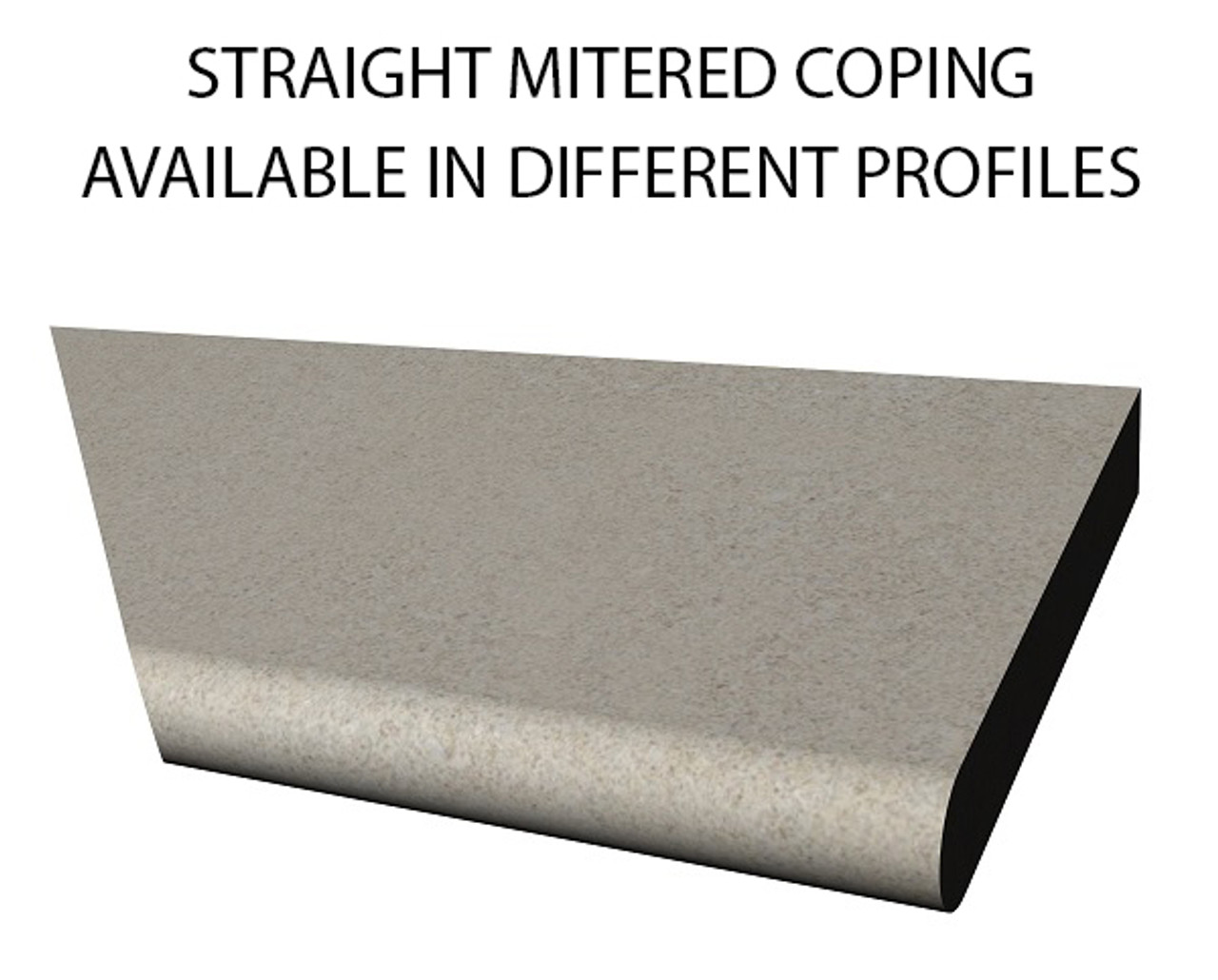 Example of limestone mitered straight swimming pool or spa coping with bull nose edge. Available in limestone, bluestone, sandstone, granite, marble, travertine, made in USA, shipped nationwide.