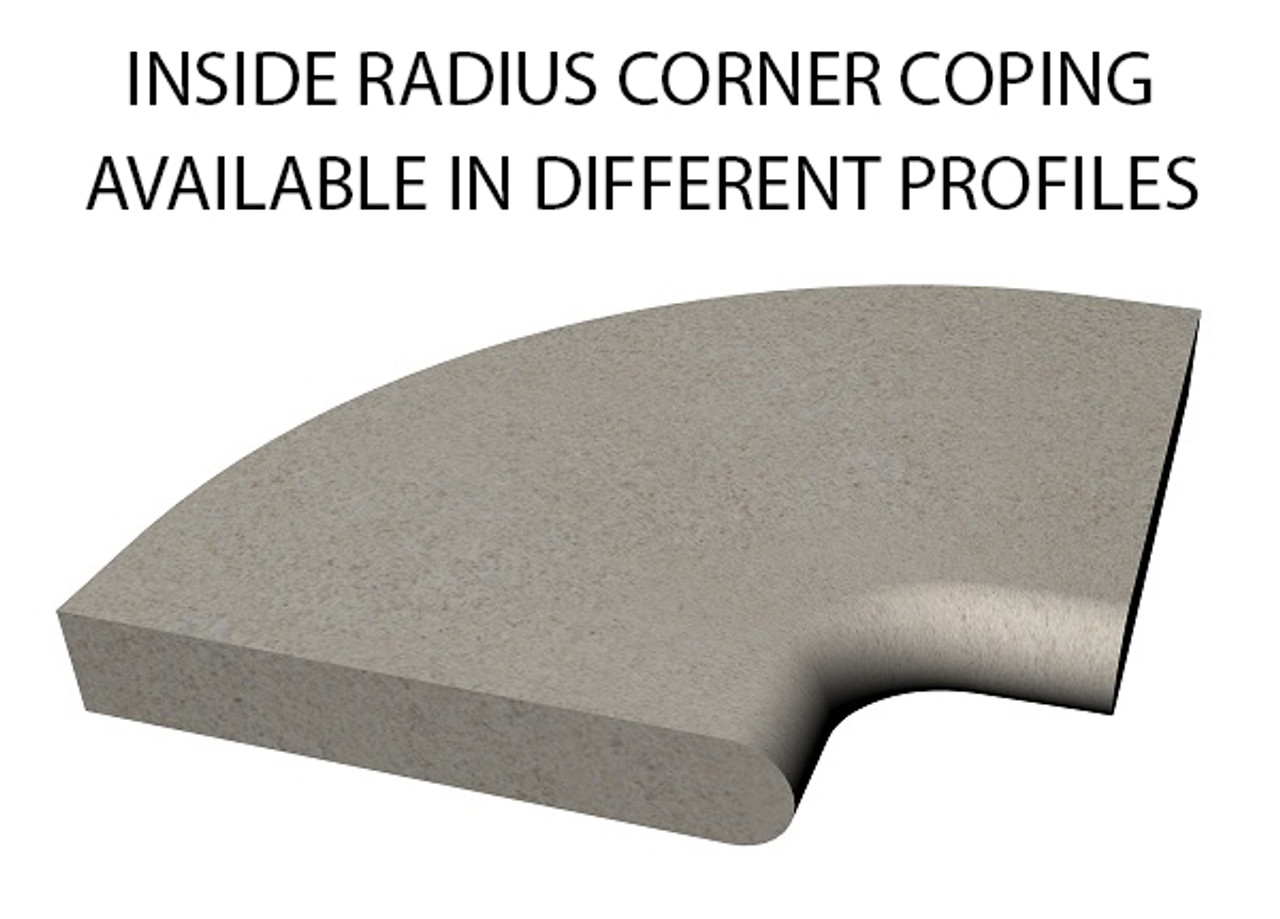 Example of limestone inside radius corner swimming pool or spa coping with bull nose edge. Available in limestone, bluestone, sandstone, granite, marble, travertine, made in USA, shipped nationwide.