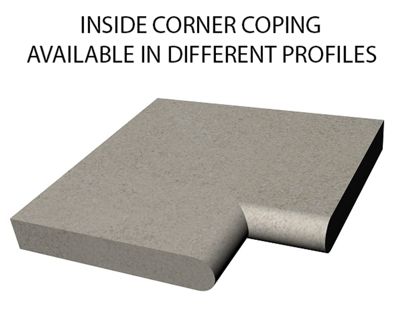Example of limestone inside corner swimming pool or spa coping with bull nose edge. Available in limestone, bluestone, sandstone, granite, marble, travertine, made in USA, shipped nationwide.