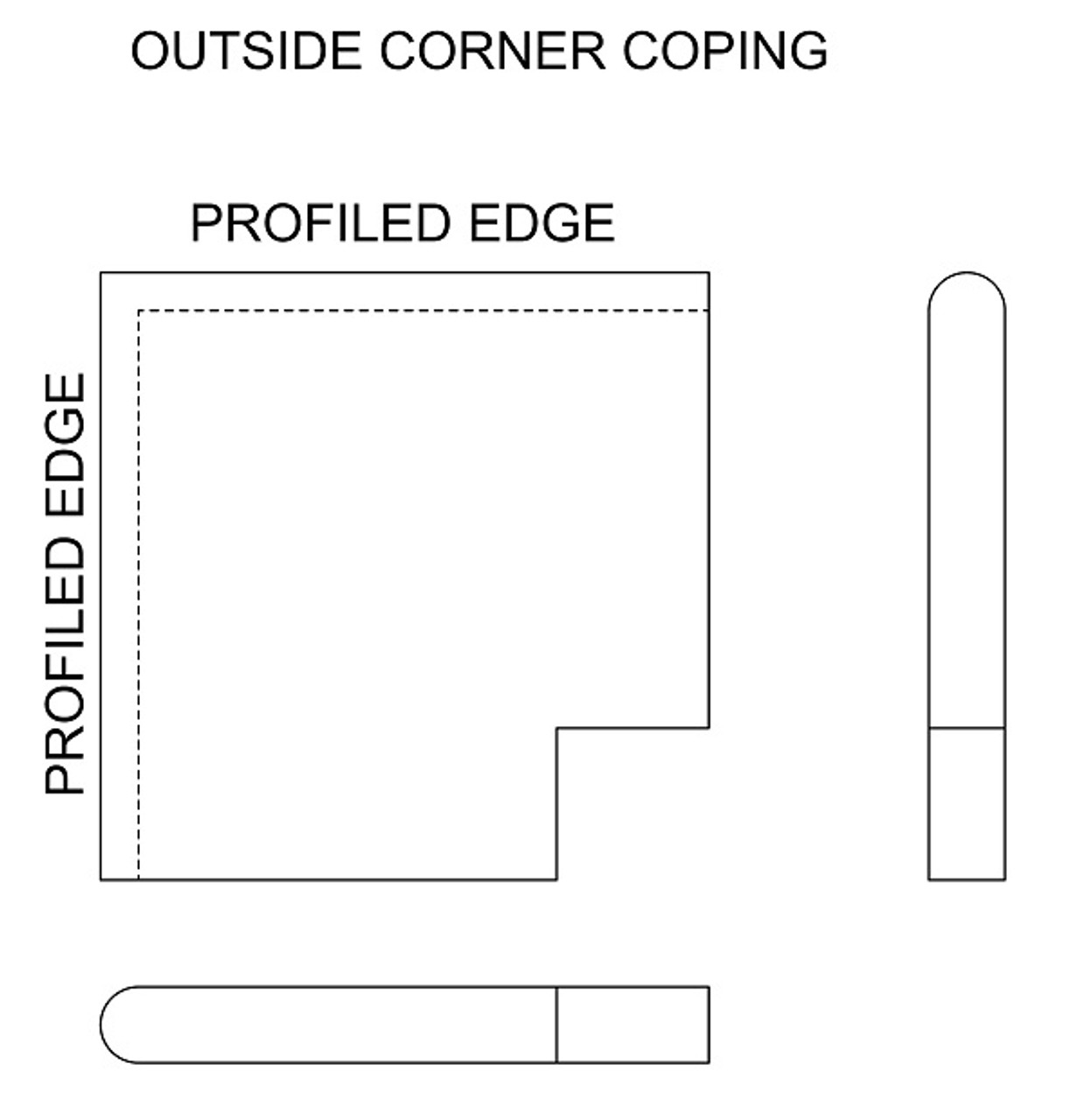Example drawing of limestone outside corner swimming pool or spa coping with bull nose edge. Available in limestone, bluestone, sandstone, granite, marble, travertine, made in USA, shipped nationwide.