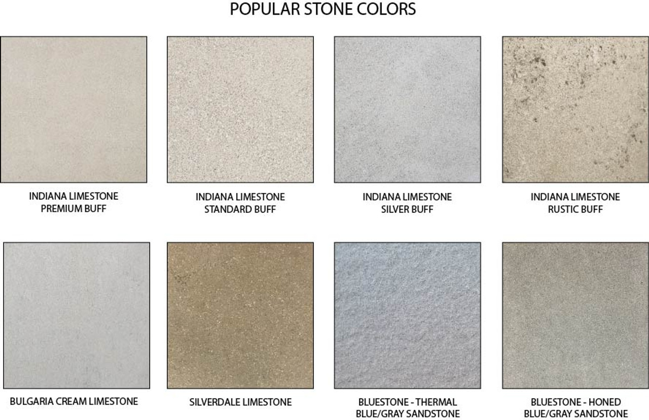 Standard coping stone colors - Other colors and textures are available.