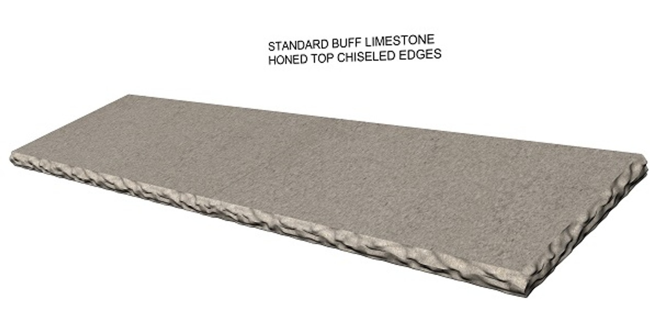 Standard buff limestone fireplace hearth; rock face chiseled edges;  made to your size and shape, shipped nationwide, solid one piece