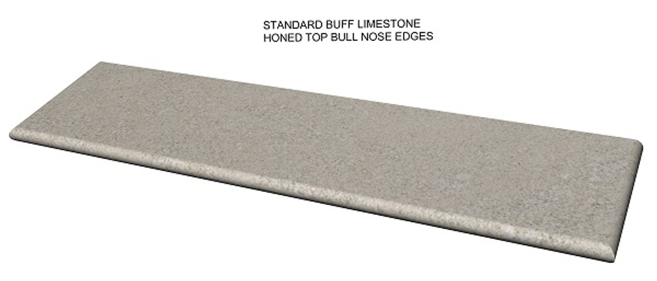 Standard buff limestone fireplace hearth; bull nose edges;  made to your size and shape, shipped nationwide, solid one piece