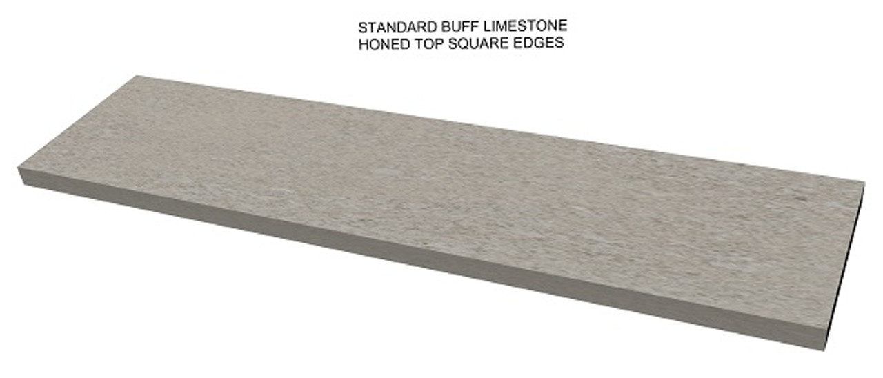 Standard buff limestone fireplace hearth; square edges;  made to your size and shape, shipped nationwide, solid one piece