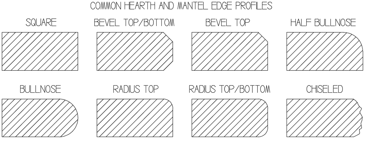 Common fireplace hearth edge profiles, other profiles and custom profiles are also possible.