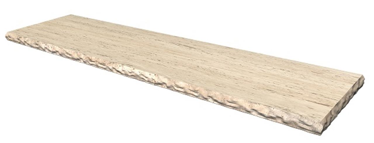 Classico Travertine Fireplace Hearth; honed or brushed finish; various profiled edges including bull nose and chiseled edges; natural stone; one piece; hearth pad; hearth slab; shipped nationwide made in USA.