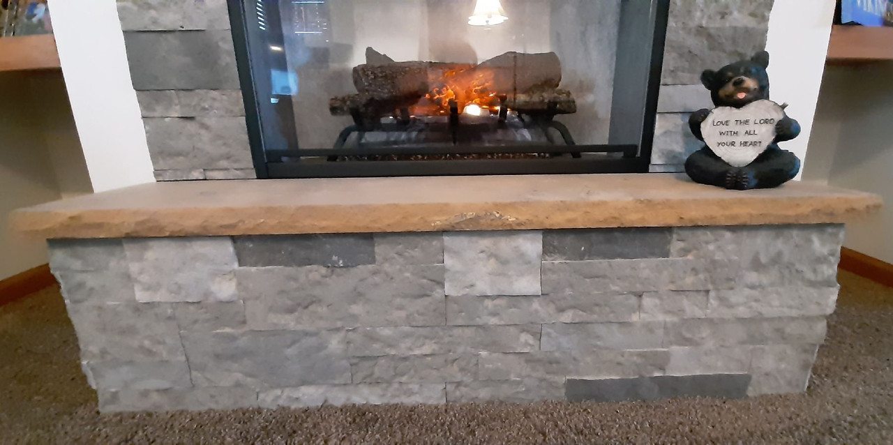 Lueders brown honed limestone fireplace hearth, solid, one piece, shipped nationwide