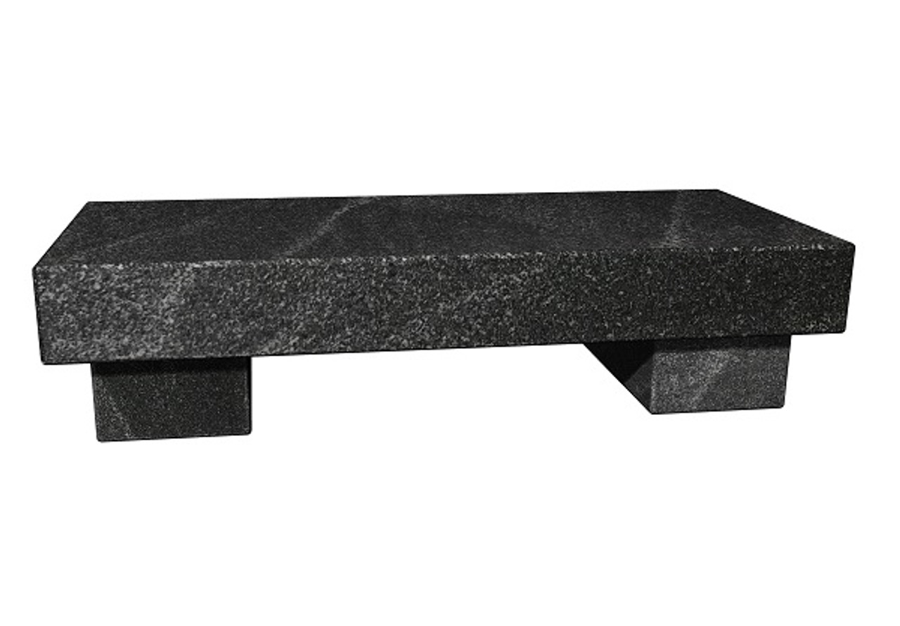 The Zen Bench in brushed American black granite, standard and customer size, available in many different natural stone colors, made to order in the USA and shipped nationwide.