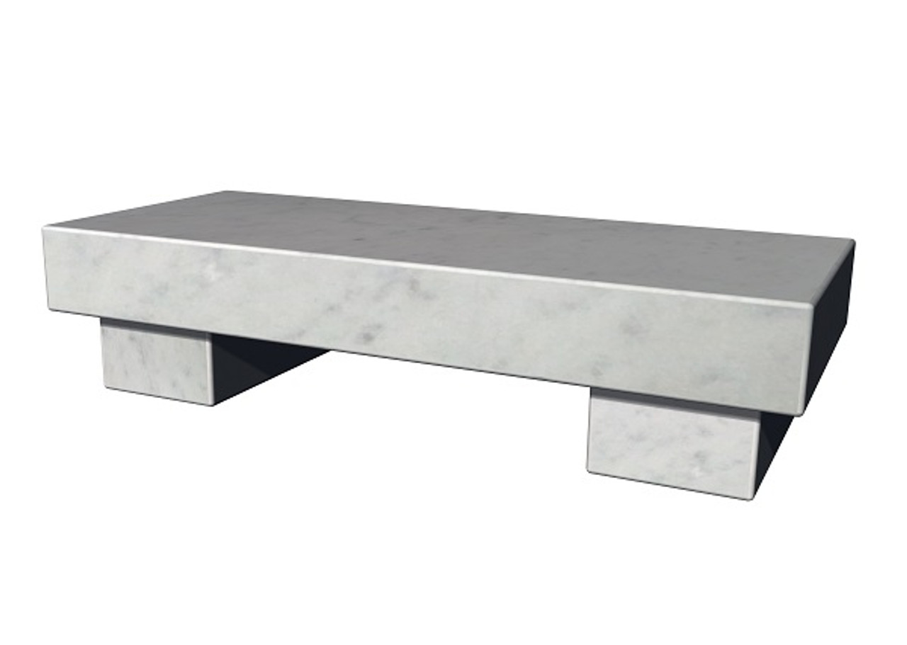 The Zen Bench in honed White Cararra Marble, standard and customer size, available in many different natural stone colors, made to order in the USA and shipped nationwide.