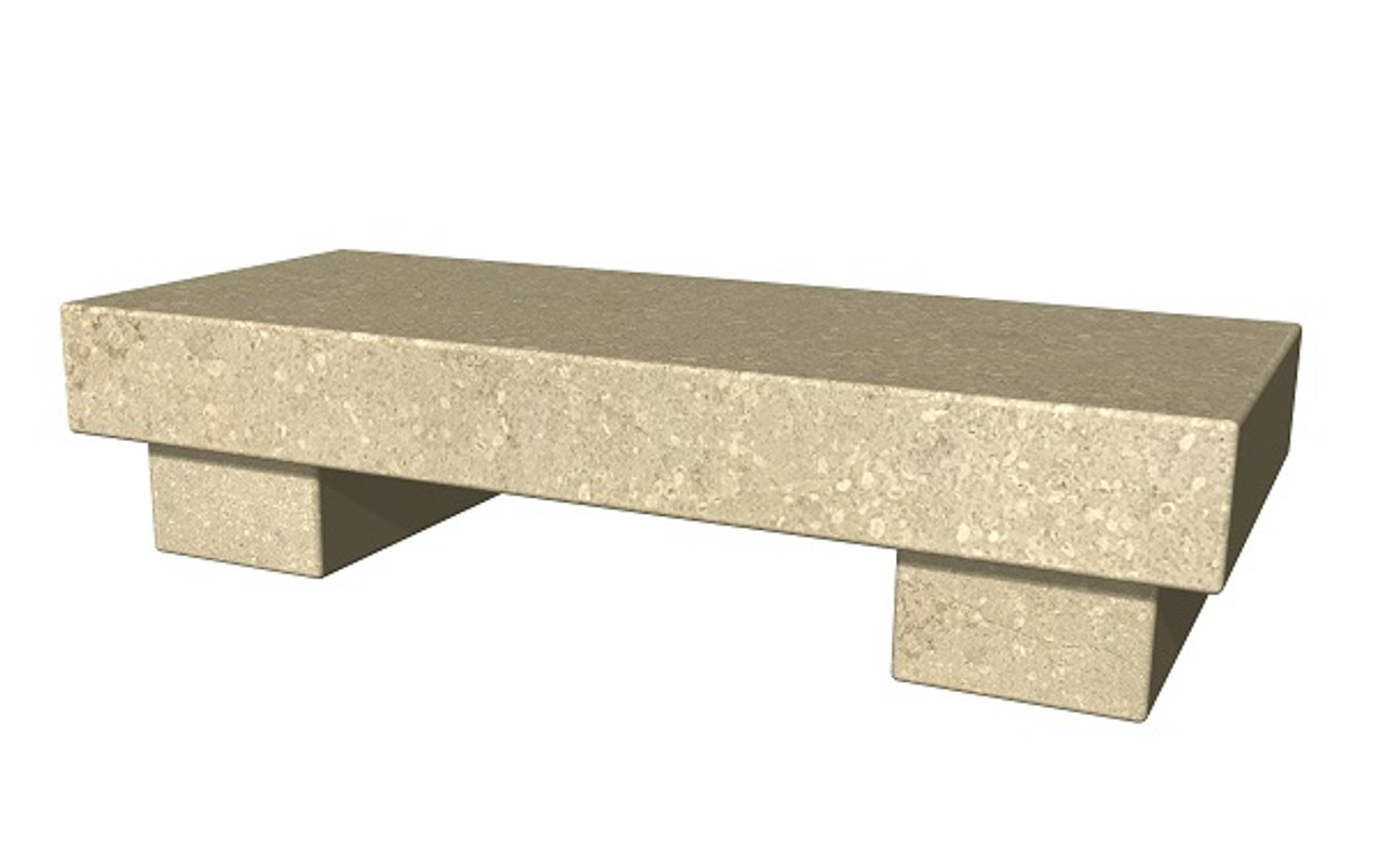 The Zen Bench in honed Silverdale limestone, standard and customer size, available in many different natural stone colors, made to order in the USA and shipped nationwide.