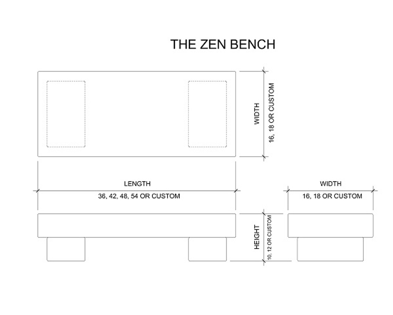 The Zen Bench drawing, standard and customer size, available in many different natural stone colors, made to order in the USA and shipped nationwide.